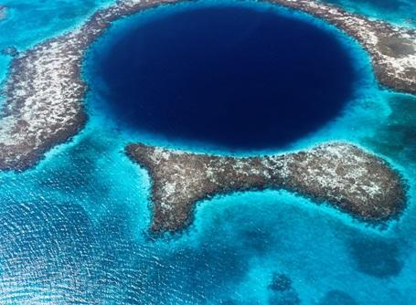 The Great Blue Hole, a popular spot for scuba divers