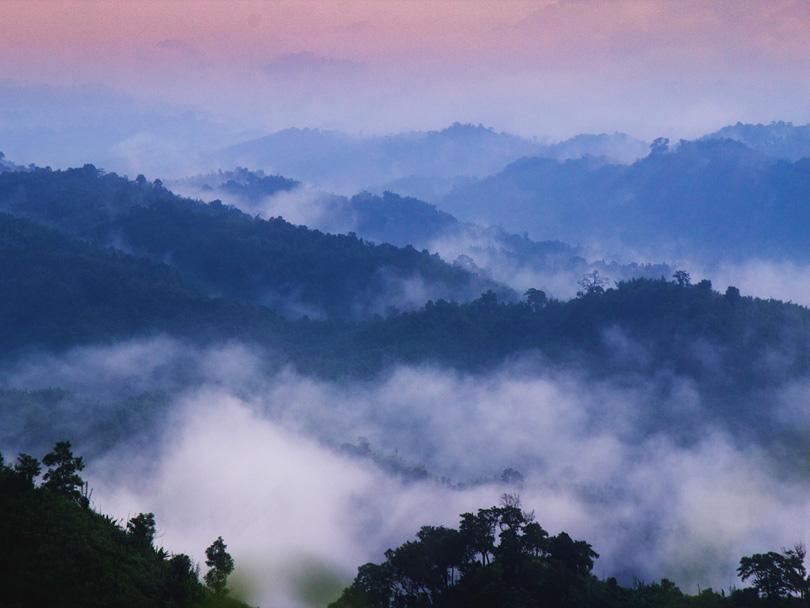 A scenic, mountainous view over Sajek Valley in Bangladesh