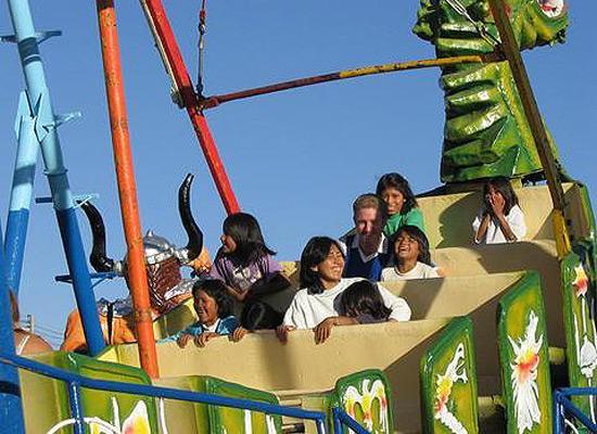 Amusement park on a ride