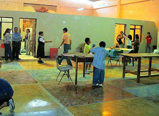 Children locals and volunteers