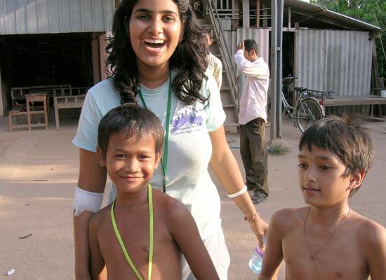 Volunteer with boys