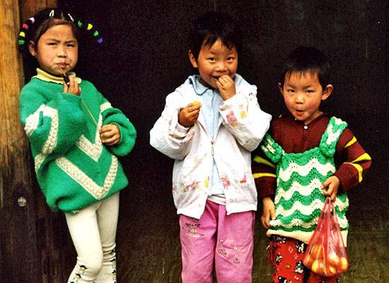 Chinese kids on street