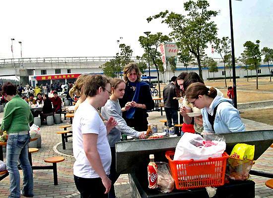Volunteers eating