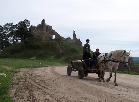 馬車で移動するルーマニアの人々