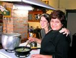 Volunteer cooking with host mother