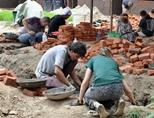Disaster Relief volunteers building classrooms at Disaster Relief project in Nepal