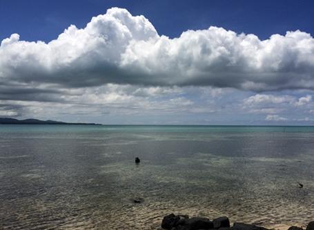 사모아 해변의 전경