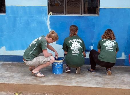 탄자니아 지역사회 건축 프로젝트에서 담쌓기와 페인트칠을 하는 봉사자들