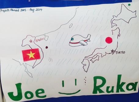 일본 봉사자가 그린 일본 지도와 베트남 지도
