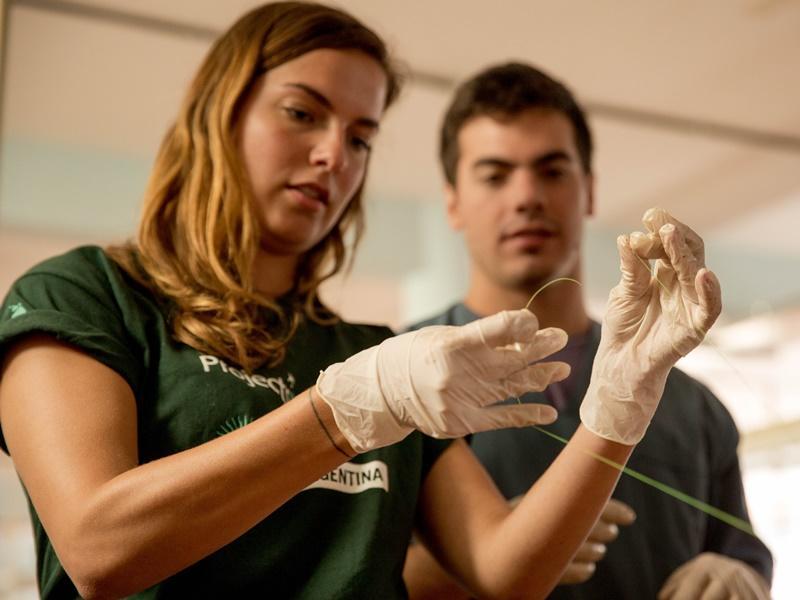 Vrijwilligers leren hechten tijdens hun medische project in Argentinië