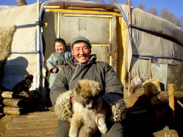 Nomaden familie in Mongolië