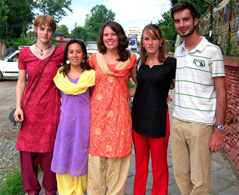Een groep vrijwilligers in Nepal