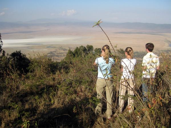 Volunteers and Tanzanian landscape