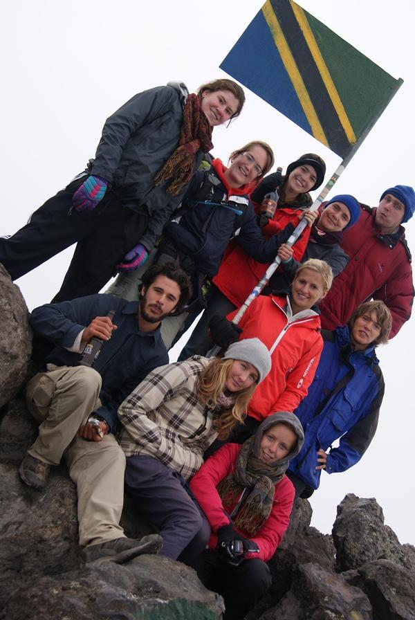 Volunteers hiking