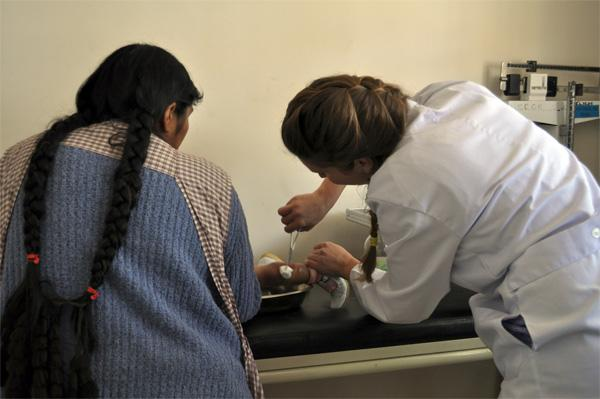 Medical volunteer at health clinic