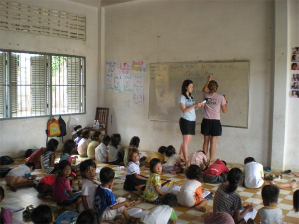 Volunteers leading a class