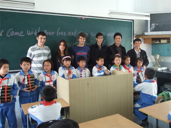 Teaching volunteers in classroom