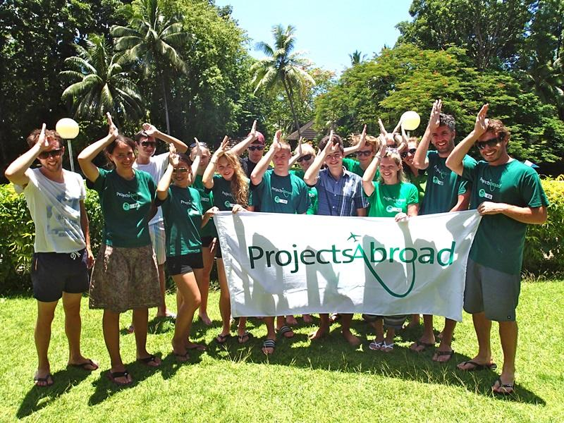 A group of volunteers in Fiji shark Conservation project.