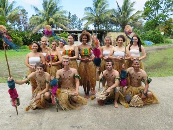 Locals welcoming volunteers to Fiji
