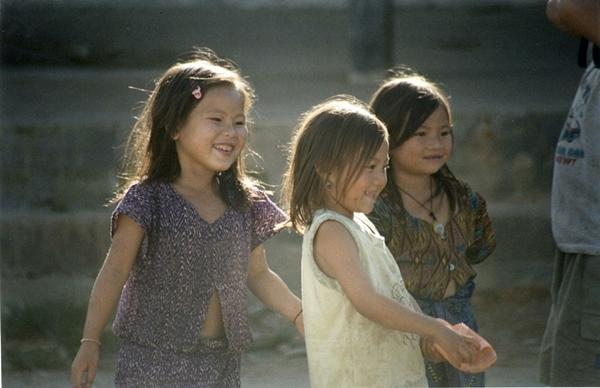 Young girls playing in Laos