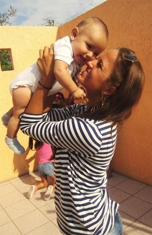 Volunteer with baby
