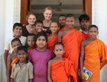 Volunteer with her students
