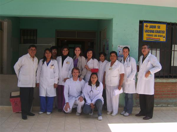 Medical volunteers outside of health centre