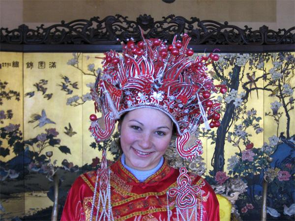 Volunteer in traditional dress