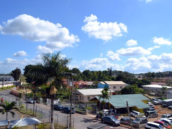 Photo overlooking Jamaican buildings in local neighbourhood
