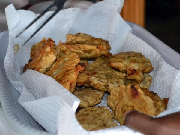 Jamaican Saltfish Fritters after being fried