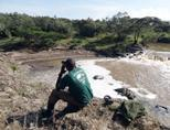 A staff member at the Conservation project surveys the Kenyan landscape