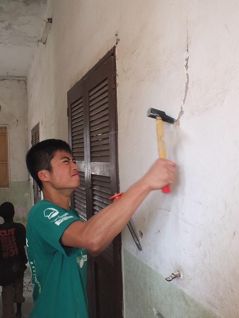 Volunteer busy on a two week special in Senegal, Africa