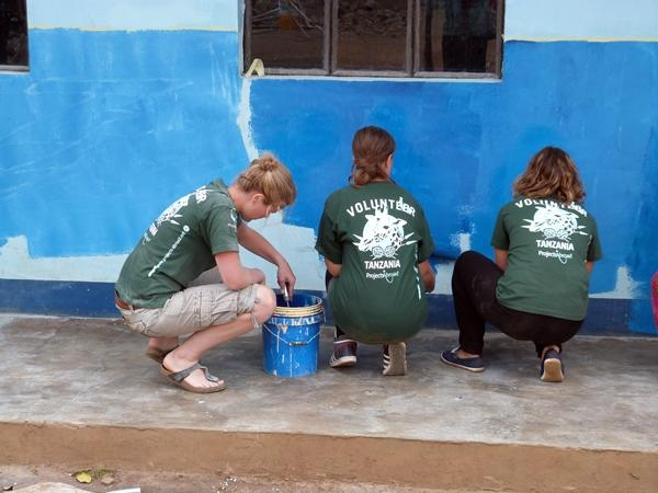 Volunteers paint the wall of a community building in Tanzania
