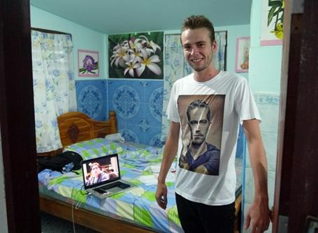Care volunteer shows us his host accommodation in Thailand