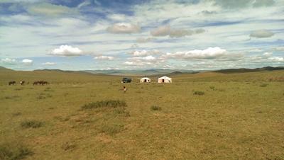 Jurten der Nomaden-Familie in der Mongolei