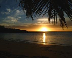Fidschi-Unterrichten-Sonnenuntergang