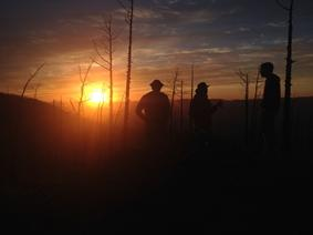 Freiwillige beim Sonnenuntergang in der Mongolei