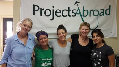 im Büro von Projects Abroad, Samoa