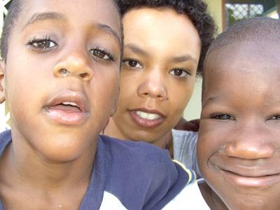 Ich mit zwei Kindern