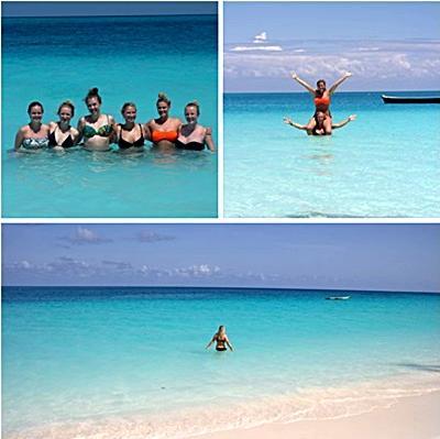 Lise sammen med vennerne på Zanzibar