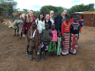 Volunteers with the Maasai tribe in Kenya