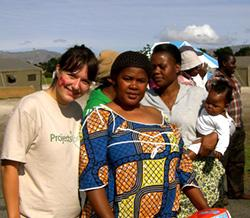 With women at refugee camp