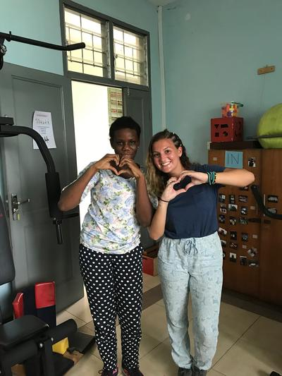 Allison spending time at her Physiotherapy placement