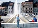 Me in front of the fountain in Brasov