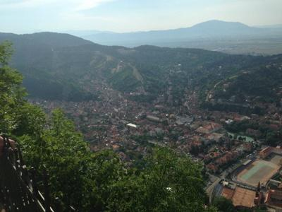 An aerial view of Brasov