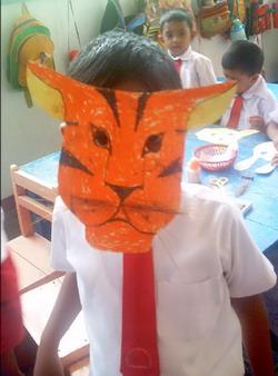 Making masks at my placement in Sri Lanka