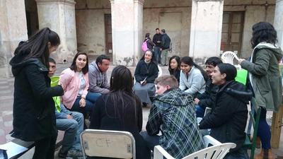 Volunteers working with local people in Argentina