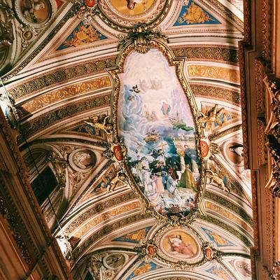 A painting on the ceiling of a cathedral