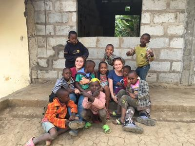 Volunteers spend time with children in Tanzania