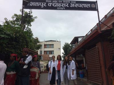 Medicine volunteers outside their placement